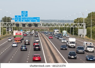 LONDON, UK - JUNE 16, 2017: Evening traffic on the busiest British motorway M25