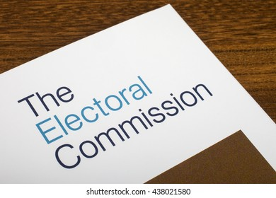 LONDON, UK - JUNE 16TH 2016: The logo of The Electoral Commission on the top of an information booklet, on 16th June 2016.  The organization regulates party and election finances.