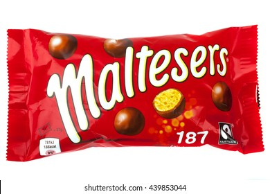 LONDON, UK - JUNE 16TH 2016: A pack of Maltesers over a plain white background, on 16th June 2016.  Maltesers are a confectionery product manufactured by Mars, Incorporated.