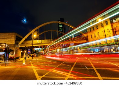 London, UK - June 17, 2016: Shoreditch High Street at night. It is the old main street of Shoreditch. It is part of the A10 road and connects Norton Folgate to the south with Kingsland Road
