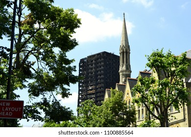 London, UK June 17, 2017 Burnt Grenfell tower three days after the deadly fire which killed at least seventy one people London, UK on June 17, 2017