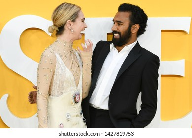 """LONDON, UK. June 18, 2019: Lily James and Himesh Patel arriving for the UK premiere of """"Yesterday"""" at the Odeon Luxe, Leicester Square, London.Picture: Steve Vas/Featureflash"""