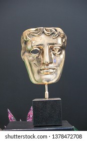 London, UK - June 19th 2018 : Bafta (British Academy film and television awards) award  on display stock, photo, photograph, picture, image press