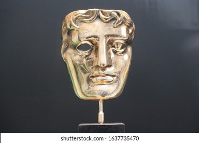 London, UK - June 19th 2018 : Bafta (British Academy film and television awards) award statue trophy on display stock, photo, photograph, picture, image press