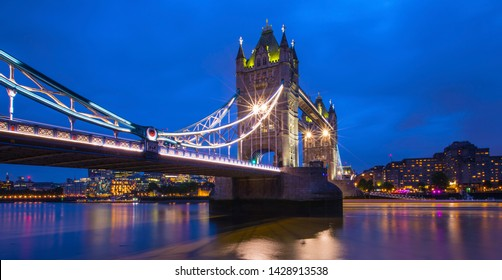 London, UK - June 19th 2019: A panoramic view of the stunning Tower Bridge spanning over the River Thames, in London, UK.