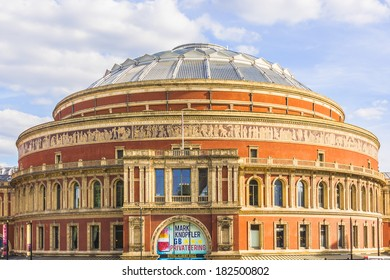 LONDON, UK � JUNE 2, 2013: View from Prince Consort Road of Royal Albert Hall - most famous for summer Proms concerts since 1941. It was completed in 1871; architects Francis Fowke and Henry Scott.