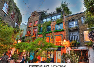 LONDON, UK, JUNE 2: Colorful High Dynamic Range (HDR) image of the famous Neal's Yard in London during sunset, London, UK, June 2, 2019