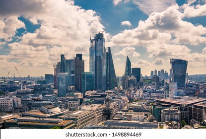 London, UK - June 20, 2019: City of London view from the St. Paul's cathedral at sunny summer day. View includes skyscrapers of banking and offie area