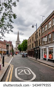 London, UK - JUNE 20, 2019:Spitalfields Market area with Brushfield Street, Spitalfields E1 London UK