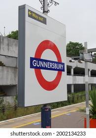 London, UK - June 20 2021: Transport for London Gunnersbury Station Roundel