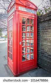 LONDON, UK, JUNE 2015 - British red telephone box now used as a micro library