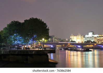 London, UK June 2016 View of the River Thames and the South Bank and Waterloo Bridge in the Background