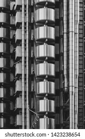 London UK, June 2019. View of the exterior of the Lloyds of London building designed by Richard Rogers, on Lime street in The City of London.