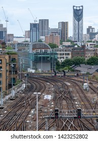 London UK, June 2019. View from Cannon Bridge Roof Garden over the railway tracks at Cannon Bridge Station in the City of London.