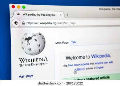 LONDON, UK - JUNE 20TH 2015: Looking on the Wikipedia (Free online Encyclopedia) website, on 20th June 2015.