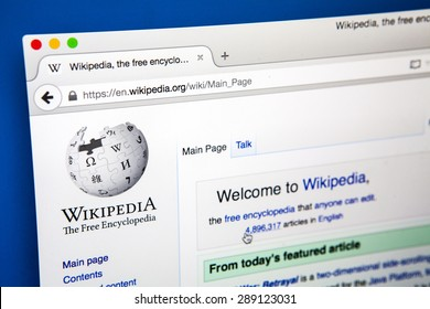 LONDON, UK - JUNE 20TH 2015: Looking on the Wikipedia (Free online Encyclopedia) website, on 20th June 2015.