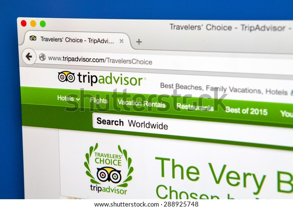 LONDON, UK - JUNE 20TH 2015: The homepage of the official TripAdvisor website, on 20th June 2015.