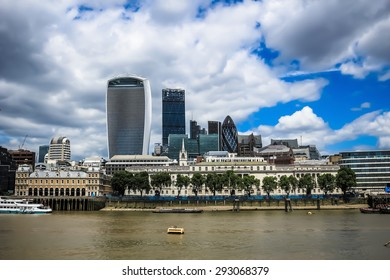 London, UK - June 21, 2015: City of London skyline. The city of London is the financial district and contains many historic and iconic buildings.