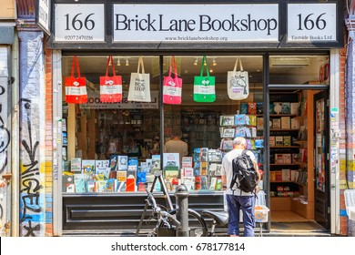 London, UK - June 21, 2017 - Brick lane bookshops, an independent retailer in Shoreditch