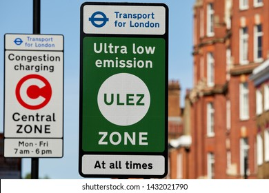 London, U.K. - June 22, 2019: ULEZ (ultra low emission) Zone boundary sign. The first phase (introduced April 2019) follows the boundary of the congestion charging central zone.