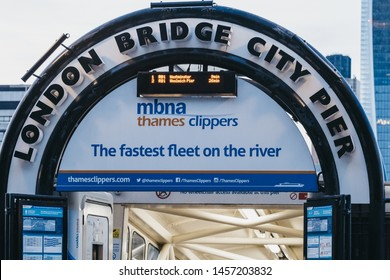 London, UK - June 22, 2019: Close up of London Bridge City Pier entrance for  MBNA Thames Clippers boats. The Clippers are the fastest and most frequent fleet on the River Thames.