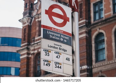 London, UK - June 22, 2019: Close up of bus stop sign for Liverpool Street Station, selective focus. Liverpool Street is a central London railway terminus and connected London Underground station.