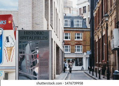 London, UK - June 22, 2019: Metal sign and map outside Spitalfields Market, one of the finest Victorian Market Halls in London with stalls offering fashion, antiques and food.