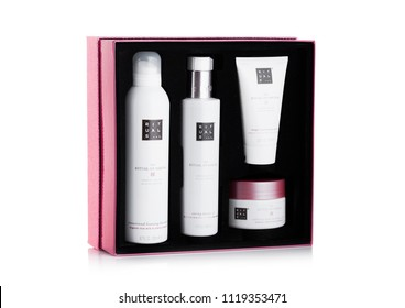 LONDON, UK - JUNE 23, 2018: RITUALS body care containers set. Sakura edition on white background in gift box.