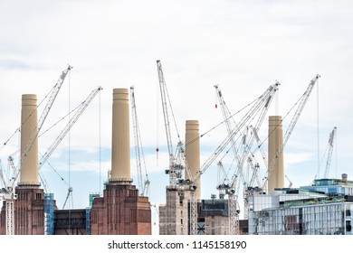 London, UK - June 23, 2018: Industrial railroad transport in United Kingdom, Pimlico neighborhood district, Abbots Manor to Victoria station, cityscape skyline of urban pipes