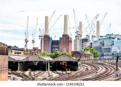 London, UK - June 23, 2018: Industrial railroad transport tracks in United Kingdom, Pimlico neighborhood district, Abbots Manor to Victoria station, cityscape skyline of urban pipes