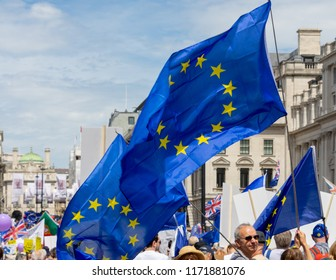 London, UK - June 23, 2018: The People's Vote March took place in London to call for a final vote on the UK's relationship with the European Union.