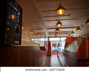 London, UK - June 23 2018: Image taken of Image taken of the inside of Golden Union Fish & Chips shop from the eating in area. Based on Poland Street off Oxford Circus.