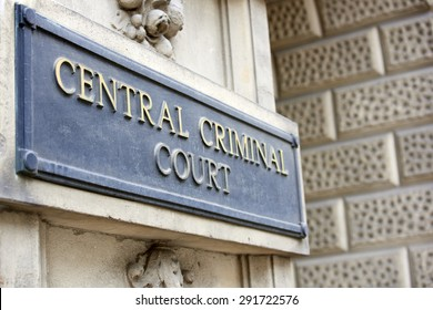 LONDON, UK - JUNE 23: Detail of Central Criminal Court plaque outside the building. June 23, 2015 in London.