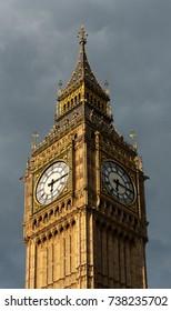 LONDON, UK - JUNE 24 2014: Big Ben showing the clock faces