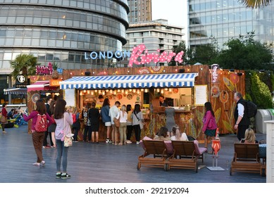 London, UK, JUNE 25, 2015: People enjoying at London Riviera, it is a pop-up food and drink experience outlet, quite popular among people, Must visit if you are in London, good place to relax.