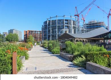 London / UK - June 25 2020: Coal Drops Yard, part of the Kings Cross St Pancras redevelopment and regeneration scheme, London