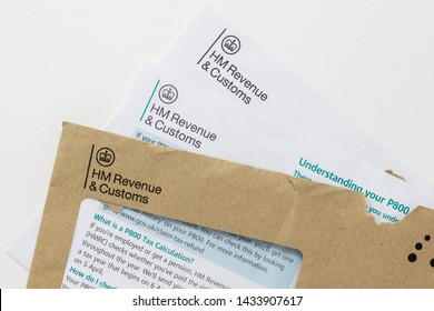 London / UK - June 25th 2019 - HMRC letter with P800 tax calculation information. HMRC is a non-ministerial department of the UK Government responsible for the collection of taxes.