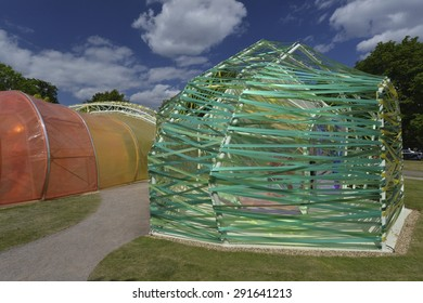 LONDON, UK - JUNE 27, 2015: The 2015 Serpentine Gallery Pavilion designed by Spanish architects SelgasCano in Kensington Gardens, London on June 27, 2015. Summer Pavilion opened to public on June 25.