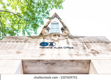 London, UK - June 27, 2018: National Audit Office building exterior architecture with sign in United Kingdom, Pimlico neighborhood district