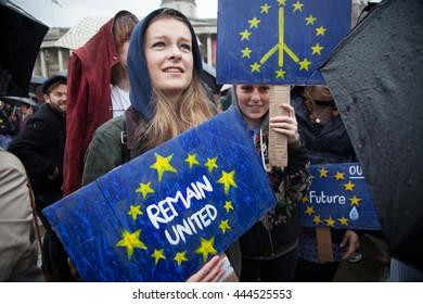 LONDON, UK - JUNE 28, 2016 British citizens protest in Trafalgar Square against the referendum results the UK leaving the EU.