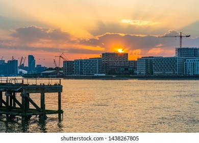 LONDON, UK - JUNE 29, 2019: Royal Wharf on the north bank of the River Thames is a residential and commercial development near the Thames Barrier close to West Silvertown and Pontoon Dock DLR stations