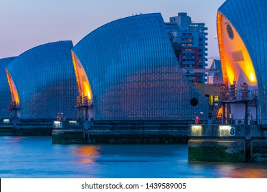 LONDON, UK - JUNE 29, 2019: Thames Barrier is the world's second largest movable flood barrier. It prevents most of Greater London from being flooded by exceptionally high tides since 1982