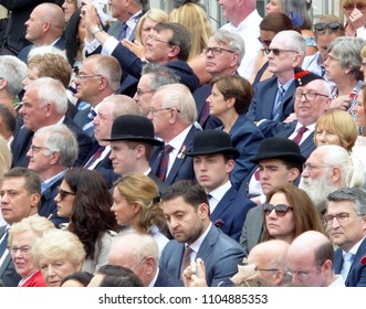 London, UK - June 2nd 2018 : Crowds at the Colonel's Review of Trooping the Colour The Queen's birthday parade , pageantry display on Horse Guards Parade , traditional city gents in bowler hats