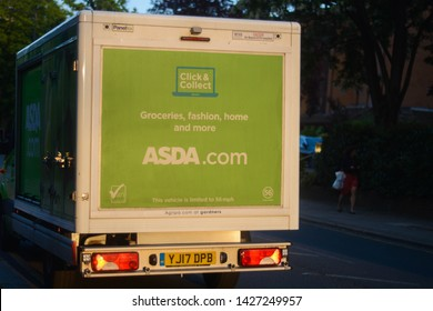London, UK, June 3, 2019: ASDA car for delivery of grocery products