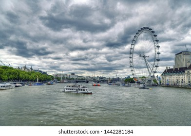 LONDON, UK, JUNE 3: Dramatic HDR image of the London Eye near the River Thames. The London Eye is a giant Ferris wheel on the South Bank of the River Thames. London, UK, June 3, 2019