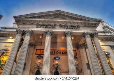 LONDON UK - JUNE 3: HDR image of the facade of the famous London's Lyceum Theater on in London England. The Lyceum Theater is a famous London institution and is playing the Lion King. June 3, 2019