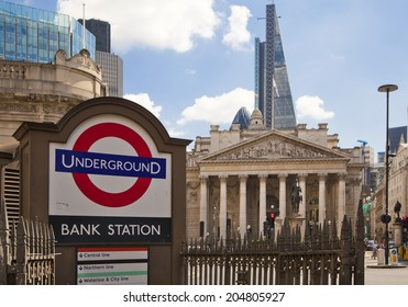 LONDON, UK - JUNE 30, 2014: Bank of England underground station