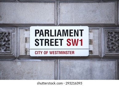 LONDON, UK - JUNE 30TH 2015: The road sign for Parliament Street in the City of Westminster on 30th June 2015.