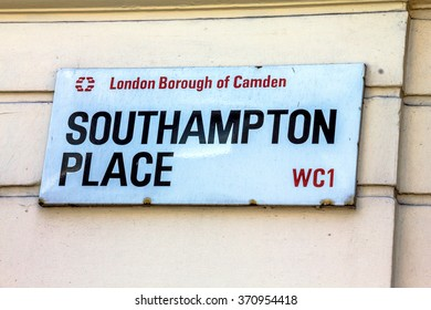 LONDON, UK - JUNE 4, 2015:  Street sign of Southampton place in Borough of Camden at Central London  on white blue plate in Central London