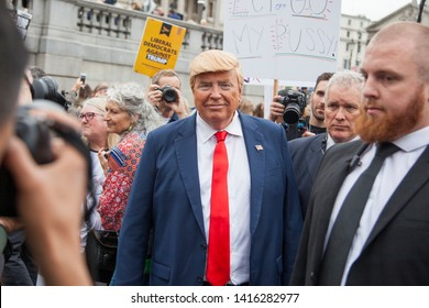 LONDON, UK - June 4th 2019: A Donald Trump lookalike in Trafalgar Square during a political protest